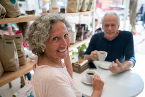 Older couple having coffee